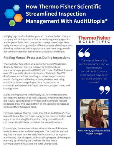 Case Study | How Thermo Fisher Scientific Streamlined Inspection Management With AuditUtopia®